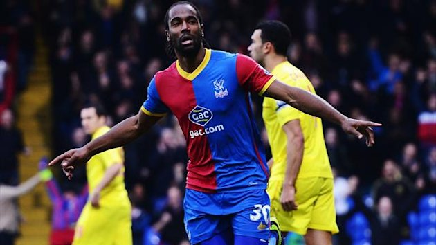 Cameron Jerome of Crystal Palace celebrates scoring during the Barclays Premier League match between Crystal Palace and Cardiff City at Selhurst Park on December 07, 2013 in London, England. (Photo by Jamie McDonald/Getty Images)