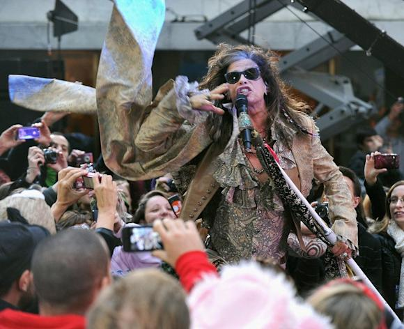 "Steven Tyler of Aerosmith performs on NBC's ""Today"" at Rockefeller Plaza on November 2, 2012 in New York City. US rock band Aerosmith has cancelled a concert scheduled this week in Jakarta on safety concerns, a concert promoter said Sunday, following threats to bomb the Myanmar embassy in the Indonesian capital"