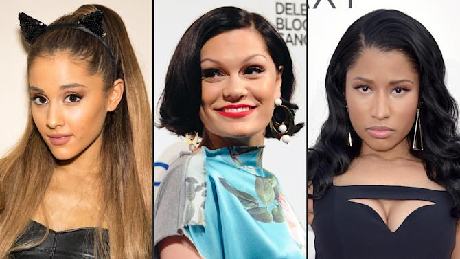 "This combo made from file photos shows, from left, Ariana Grande, Jessie J, and Nicki Minaj. The trio will kick off Sunday's MTV Video Music Awards with their new song ""Bang Bang."" (Photos by Omar Vega/Evan Agostini/John Shearer/Invision/AP, File)"