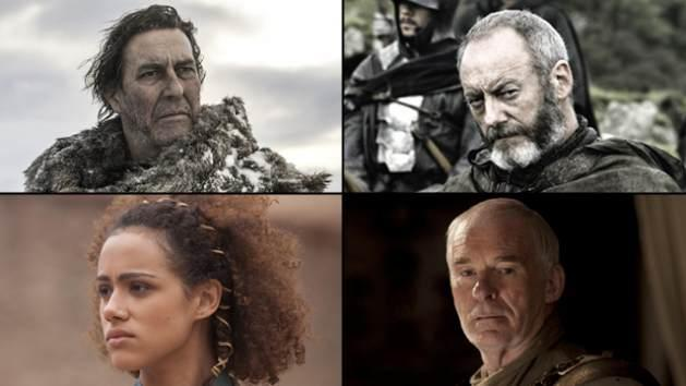 'Game of Thrones' characters Mance Rayder, Davos Seaworth, Missandei, Ser Barristan Selmy -- Helen Sloan/HBO