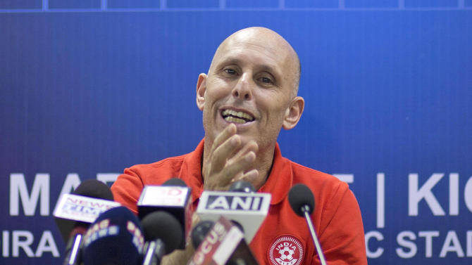 FILE - In this March 11, 2015 file photo, India head coach Stephen Constantine address a  press conference on the eve of their 2018 World Cup qualifying match against Nepal in Gauhati, India. India is falling behind its regional soccer rivals as Asian national teams look overseas for players. (AP Photo/Anupam Nath, File)