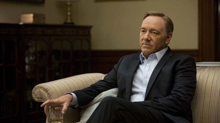 "This image released by Netflix shows Kevin Spacey in a scene from the Netflix original series, ""House of Cards,"" an adaptation of a British classic. (AP Photo/Netflix, Melinda Sue Gordon)"