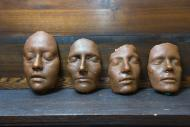 Wax models cast from the faces of researchers who wanted to recreated Roman ancestor masks.