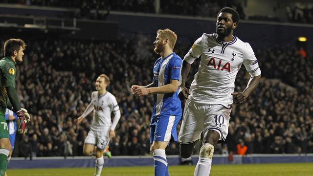 Europa League - Adebayor brace helps Tottenham through to last 16