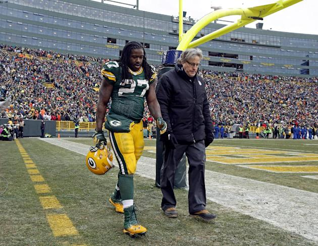 Green Bay Packers' Eddie Lacy walks off the field during overtime an NFL football game against the Minnesota Vikings Sunday, Nov. 24, 2013, in Green Bay, Wis. The game ended in a tie, 26-26