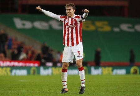Stoke City's Marc Muniesa celebrates after the game
