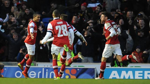 FA Cup - Arsenal edge out Brighton in cracking Cup tie