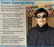 Graphic on Chinese dissident Chen Guangcheng, said to be hiding at the US embassy in Beijing, according to fellow activist Hu Jia
