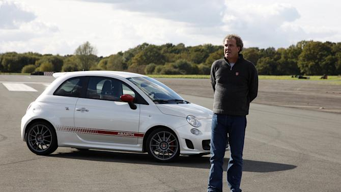 "Jeremy Clarkson in front of Abarth as seen in ""Top Gear."""
