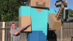 Dad builds massive Minecraft figure