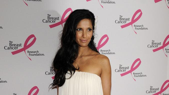 Padma Lakshmi arrives at the Waldorf Astoria during the Breast Cancer Research Foundation's Hottest Pink Party Ever 2008 on April 8, 2008 in New York City.