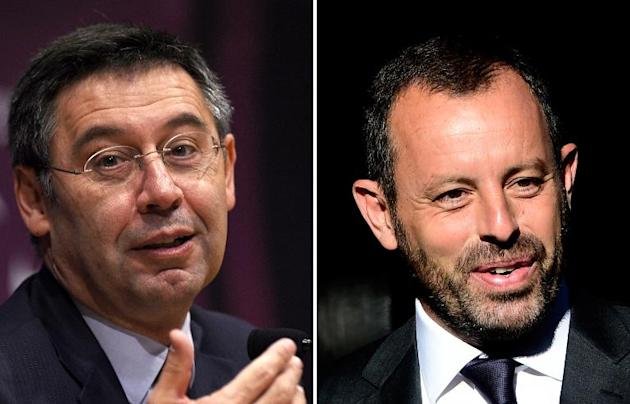 Barcelona president Josep Maria Bartomeu (L) and former president Sandro Rosell (R) will stand trial for tax fraud in the signing of Neymar