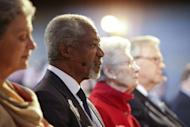 UN-Arab League envoy Kofi Annan, pictured here on April 24, has called for the rapid deployment of 300 ceasefire monitors in Syria but a top UN official said it will take at least one month to get the first 100 in place