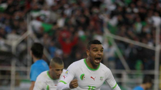 Algeria's Arabi Soudani celebrates after scoring against Slovenia during their international friendly soccer match in Algiers
