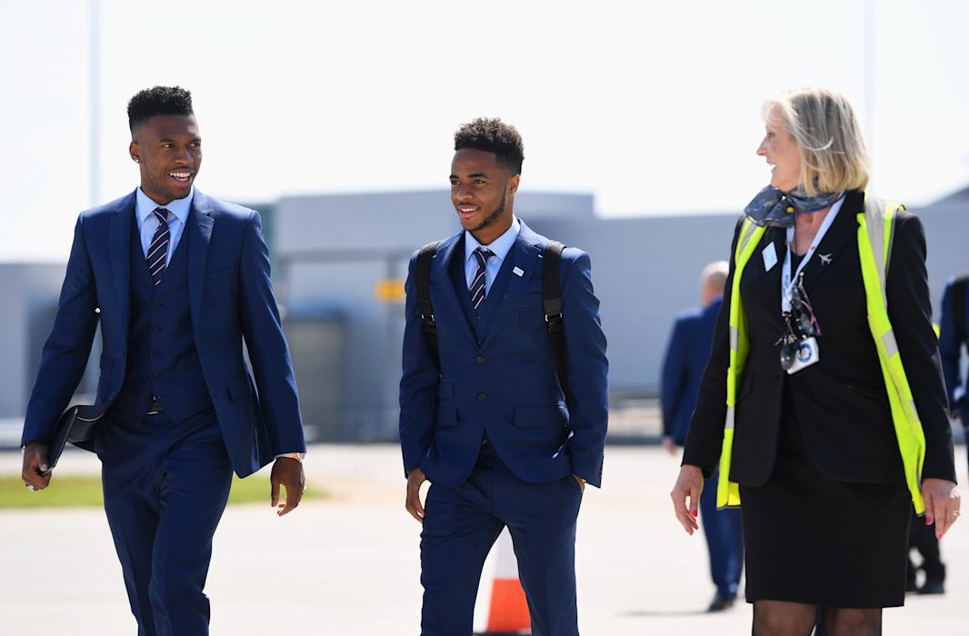 England's Daniel Sturridge and Raheem Sterling depart for France and UEFA Euro 2016
