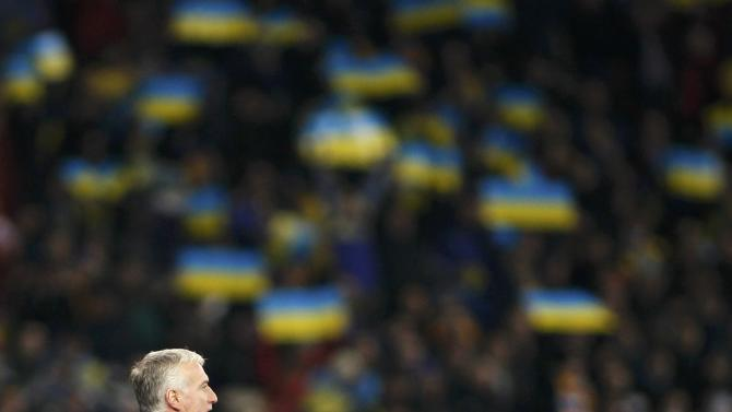 France's coach Didier Deschamps reacts during their 2014 World Cup qualifying first leg playoff soccer match against Ukraine at the Olympic stadium in Kiev