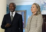 Special Envoy for Syria Kofi Annan (L) and Secretary of State Hillary Clinton meet in Washington, DC. UN monitors finally reached the site of a new massacre in Syria on their second attempt as Western powers pressed at the United Nations for sanctions against Damascus
