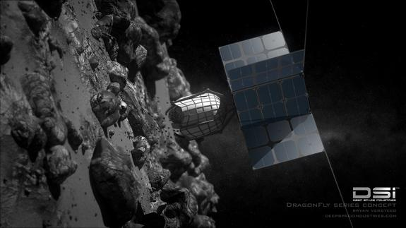 An artist's concept of Deep Space Idustries' Dragonfly picker to capture asteroids for mining operations.