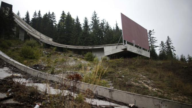 The Olympic Rings are seen on the disused ski jump from the Sarajevo 1984 Winter Olympics on Mount Igman, near Sarajevo