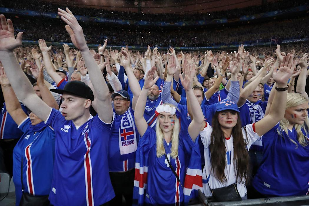 Iceland fans after the game