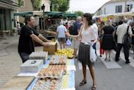 Valerie Laupies (right), far right National Front party candidate in Bouches-du-Rhone, campaigns at a market in Saint-Martin-de-Crau, southern France. Sunday's vote will be a litmus test for Marine Le Pen's far-right anti-immigrant National Front party, after Le Pen won 18 percent of votes in the first round of the presidential election