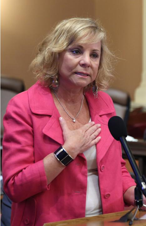 Debbie Ziegler, the mother of Brittany Maynard, urges passage of  proposed legislation allowing doctors to prescribe life ending medication to terminally ill patients, during a news conference at the