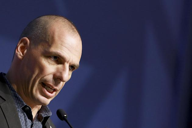 Greek Finance Minister Yanis Varoufakis speaks at the Informal Meeting of Ministers for Economic and Financial Affairs of the European Union in Riga, Latvia on Friday, April 24, 2015. Greece's fin