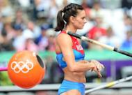 Russia's Yelena Isinbayeva, pictured during the women's pole vault qualifications at the athletics event of the London 2012 Olympic Games, on August 4. Isinbayeva will be bidding for a third Olympic gold medal on the fourth day of athletics action on Monday