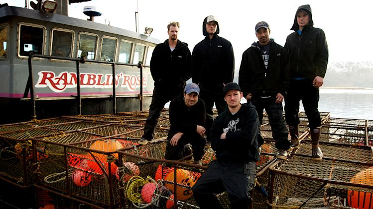 "Ramblin' Rose crew (from L to R) Deckhand Joe Snyder, Engineer Kevin 'Kado' Davis, Deckhand James Creel, Captain Elliott Neese, Deckhand Faresa 'Face' Laulualo and Greenhorn Dustin Wilson in ""Deadliest Catch."""