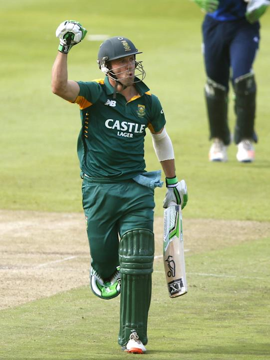 South Africa's de Villiers celebrates scoring a century during the One Day International Cricket match against England in Cape Town