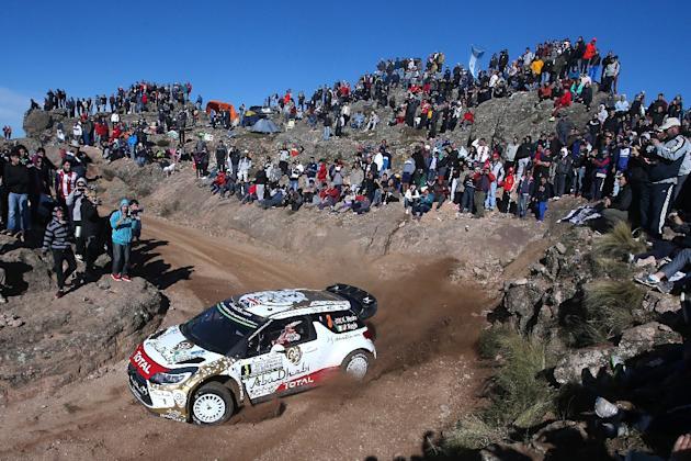 British driver Kris Meeke steers his Citroen DS3 WRC with his co-driver Paul Nagle during the ss11 of the WRC Argentina 2015 near El Condor on April 26, 2015
