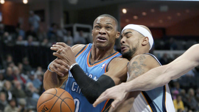Oklahoma City Thunder's Russell Westbrook (0) is fouled by Memphis Grizzlies' Jerryd Bayless, right, in the first half of an NBA basketball game in Memphis, Tenn., Wednesday, Dec. 11, 2013
