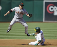 Oakland Athletics' Coco Crisp, right, is forced out at second base by San Francisco Giants second baseman Ryan Theriot, left, on a ball hit by Jemile Weeks during the first inning of an interleague baseball game in Oakland, Calif., Saturday, June 23, 2012. Weeks was safe at first. (AP Photo/Eric Risberg)