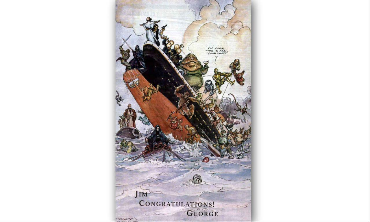 <p>喬治盧卡斯恭賀詹姆斯卡麥隆以《鐵達尼號》大獲成功,1998:「吉姆,恭喜了!喬治。」《鐵達尼號》當時踢下了《星際大戰首部曲:威脅潛伏》,登上影史票房冠軍寶座。 </p>