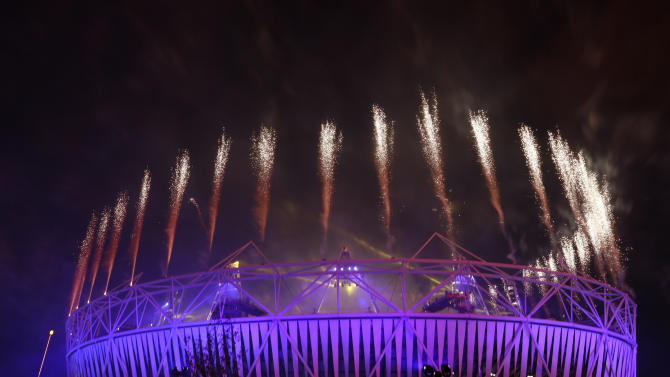 Fireworks explode over the Olympic Stadium during the closing ceremony of the London 2012 Paralympic Games