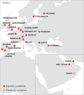 Equinix IBX Data Center Locations - EMEA (PRNewsfoto/Equinix, Inc.)