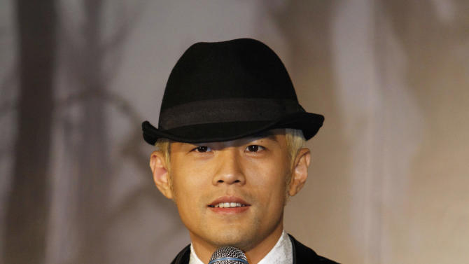 "Taiwan performer Jay Chou speaks during a press conference announcing his new CD ""Opus 12"" in Taipei, Taiwan, Thursday, Dec. 27, 2012. (AP Photo/Wally Santana)"