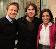 Josh Groban with Billy Bush and Kit Hoover on the set of Access Hollywood Live in Los Angeles on November 12, 2010 -- Access Hollywood