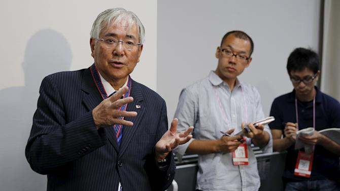 Japan Football Association Honorary President and former President Ogura speaks to the media regarding FIFA corruption probe before a women's international friendly soccer match between Japan and Italy in Nagano