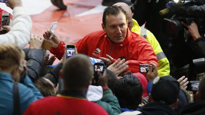 Belgium's soccer team coach Wilmots greets supporters during training session at King Baudouin stadium in Brussels