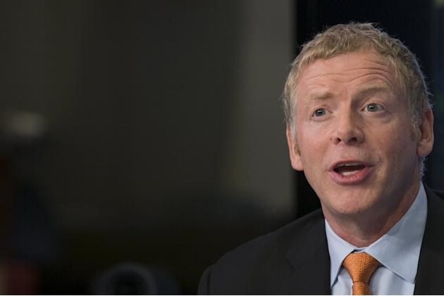 Pure Storage Inc. CEO Scott Dietzen gives an interview following his company's IPO on the floor of the New York Stock Exchange