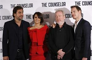 "Actors Javier Bardem and Penelope Cruz, Director Ridley Scott and actor Michael Fassbender pose for photographers at a photocall for the film ""The Counselor"" in London"
