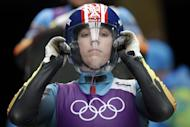 Erin Hamlin of the United States prepares to start her run during a training session for the women's singles luge at the 2014 Winter Olympics, Thursday, Feb. 6, 2014, in Krasnaya Polyana, Russia. (AP Photo/Michael Sohn)