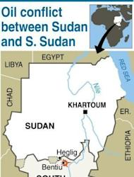 "Map of Sudan and South Sudan locating Heglig and Bentiu. Khartoum's warplanes bombed border regions, leading South Sudan's leader on Tuesday to accuse Sudan of declaring war, as the United States condemned the ""provocative"" strikes"