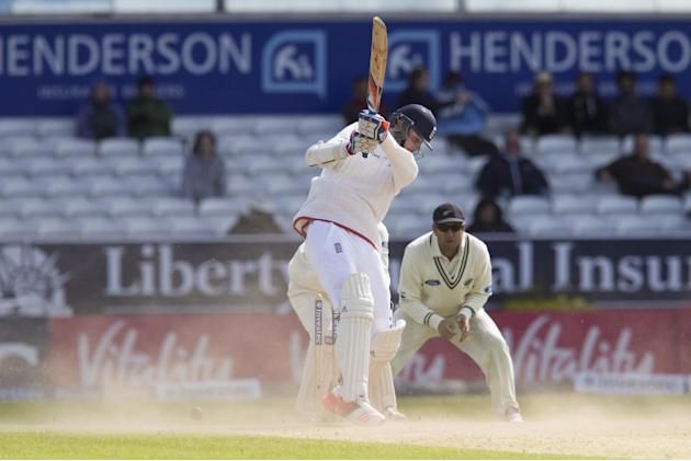 Dust is kicked up by heavy winds as England's Stuart Broad loses his wicket as he plays onto his stumps on 23 off the bowling of New Zealand's Kane Williamson on the fifth day of the second Te