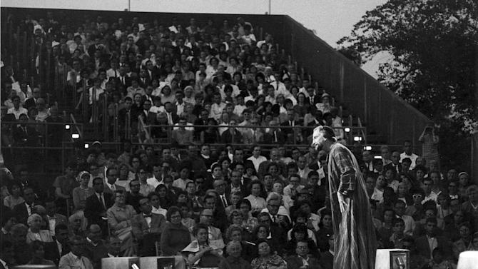 "In this 1962 photo provided by the Public Theater, George C. Scott portrays Shylock in the Shakespeare in the Park production of ""The Merchant of Venice,"" the first production at the Delacorte Theater in New York's Central Park, directed by Joseph Papp and Gladys Vaughan. This summer, The Public Theater is celebrating the 50th anniversary of the Delacorte, home of its free Shakespeare in the Park program _ a beloved staple for both actors and audience. (AP Photo/Public Theater, George E. Joseph)"
