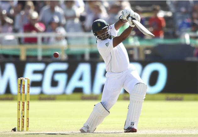 South Africa's Philander plays a shot during the third day of the third cricket test match against Australia at Newlands Stadium in Cape Town