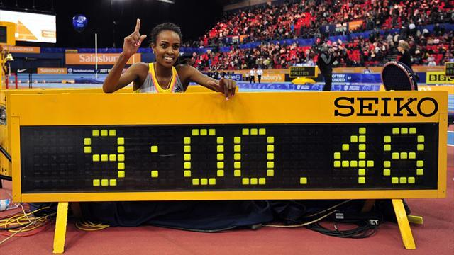 Athletics - Ethiopian Dibaba clocks world best indoor two-mile