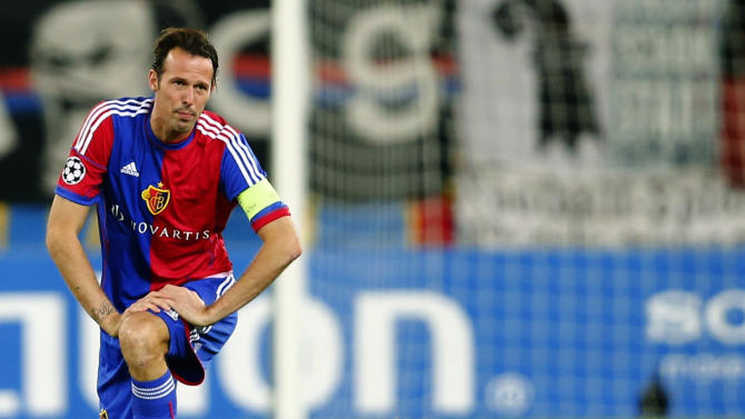 FC Basel's Streller reacts during Champions League soccer match against Steaua Bucharest in Basel