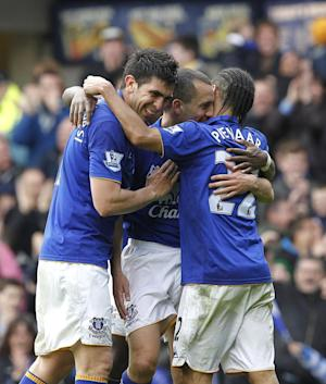 Leon Osman (centre) and Steven Pienaar (right)